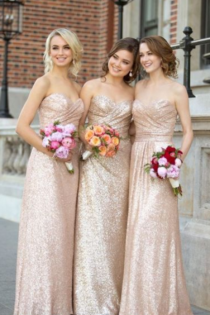Sequin bridesmaid dresses, Sweetheart bridesmaid dresses, Gold bridesmaid dresses, Strapless bridesmaid dresses