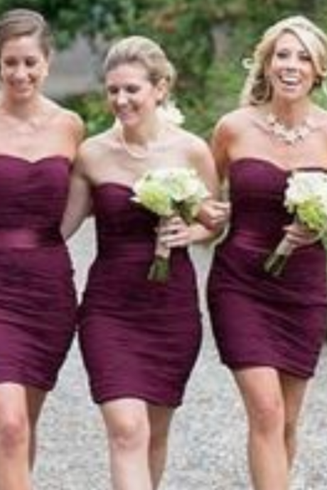 Short Sheath Bridesmaid Dresses,Grape Purple Bridesmaid Dresses,Chiffon Bridesmaid