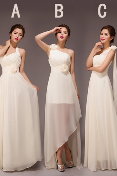 champagne bridesmaid dresses, long bridesmaid dresses, chiffon bridesmaid dresses, mismatched