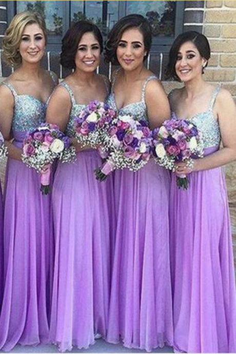 Chiffon Bridesmaid Dress,Lilac Bridesmaid Gown,Bridesmaid Gowns,Bridesmaid