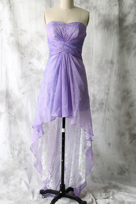 Asymmetrical Lavender Bridesmaid Dresses, Superior Lace High Low Bridesmaid Dresses,