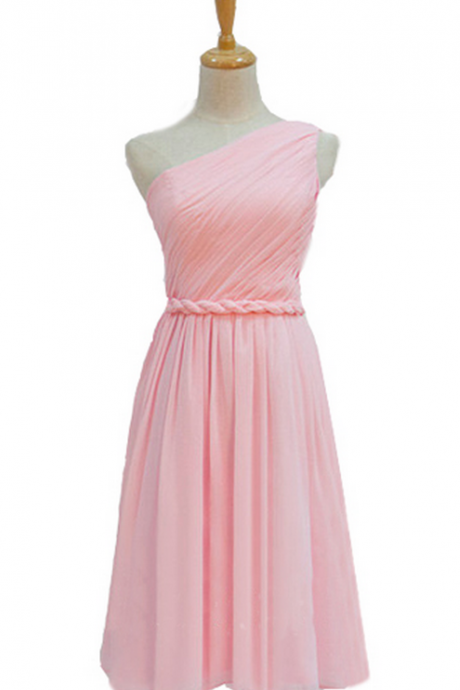 Short bridesmaid dress, pink bridesmaid dress, one shoulder bridesmaid dress, cheap bridesmaid dress