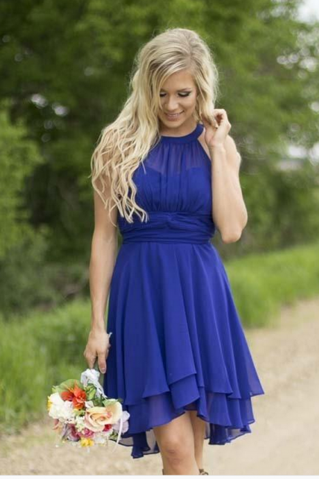 Bridesmaid Dresses,Bridesmaid Dress,Short Chiffon Bridesmaid Dress,Mini Bridesmaid Dresses,Royal Blue Chiffon Bridesmaid