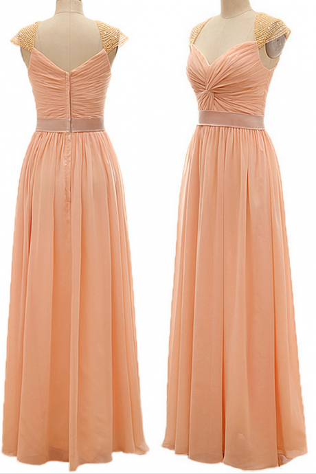 Cap Sleeve Bridesmaid Dress with a Belt, A-line Sweetheart Bridesmaid Dresses, Inexpensive