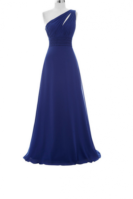 New Arrival Chiffon Bridesmaid Dresses,Blue Bridesmaid Dresses ,One Shoulder Bridesmaid Dress
