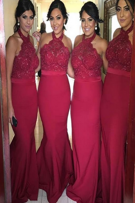 Red Halter bridesmaid dresses, Sexy Mermaid bridesmaid dresses, Long bridesmaid dresses, Custom bridesmaid