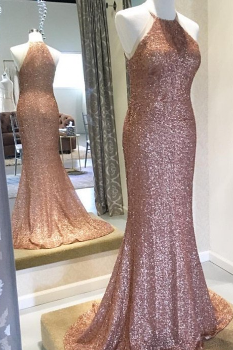 Rose Gold Sequin Bridesmaid Dresses,Halter Neck Sheath Bridesmaid Dresses,Sequin Bridesmaid Dresses