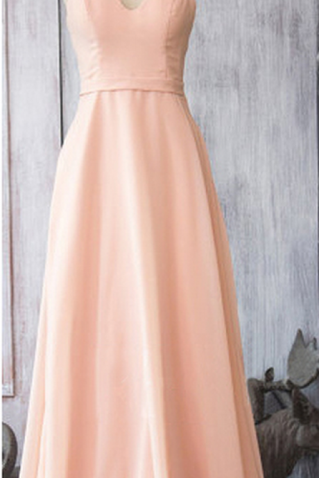 Girly Pearl Pink Chiffon Bridesmaid Dresses, Wholesale Spaghetti Straps Bridesmaid Dresses, Flattering Long