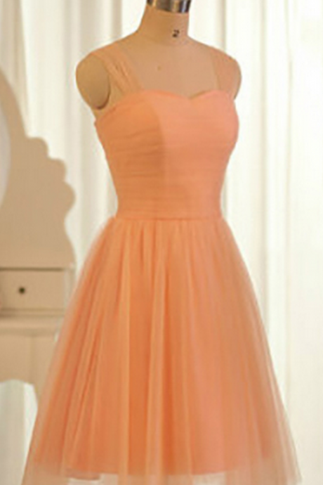 Orange Bridesmaid Dresses, Sweetheart Short Bridesmaid Dresses with Tulle Straps, Popular Knee-length Bridesmaid