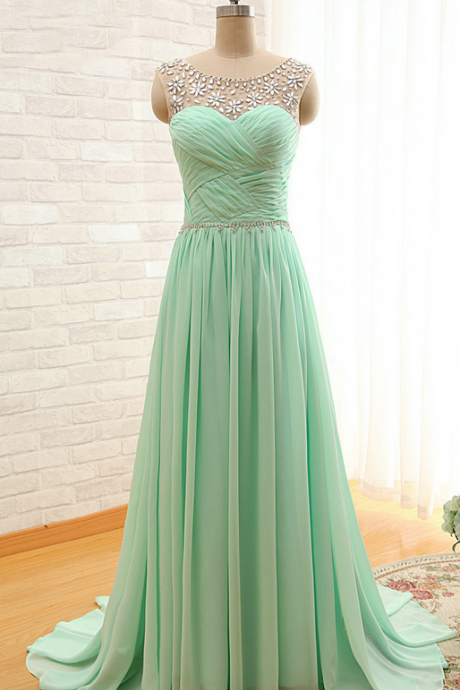 Bridesmaid Dresses ,Long Bridesmaid Dresses,Chiffon Bridesmaid Dresses,Sheer Neck Bridesmaid Dresses