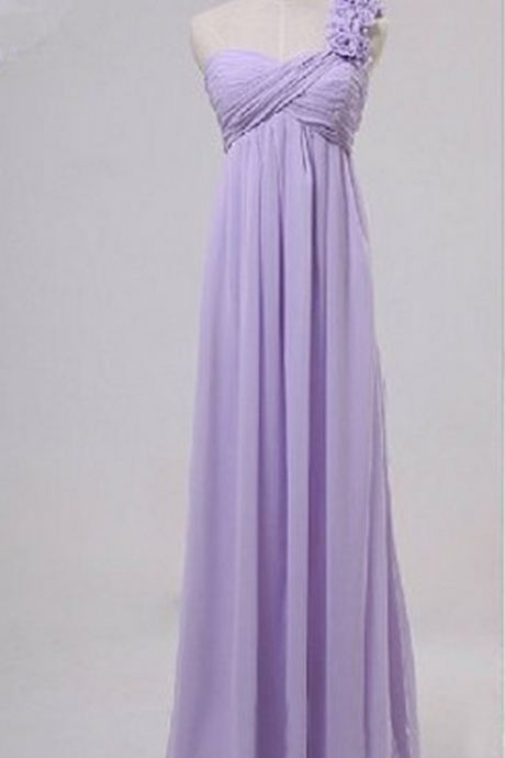 One-Shoulder Ruched Empire Waist Chiffon A-line Floor-Length Bridesmaid Dress