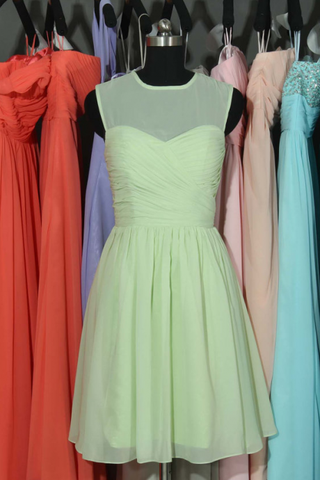 Sage Bridesmaid Dress, Sage Chiffon Bridesmaid Dress, Short Bridesmaid Dress, Cheap Bridesmaid Dress