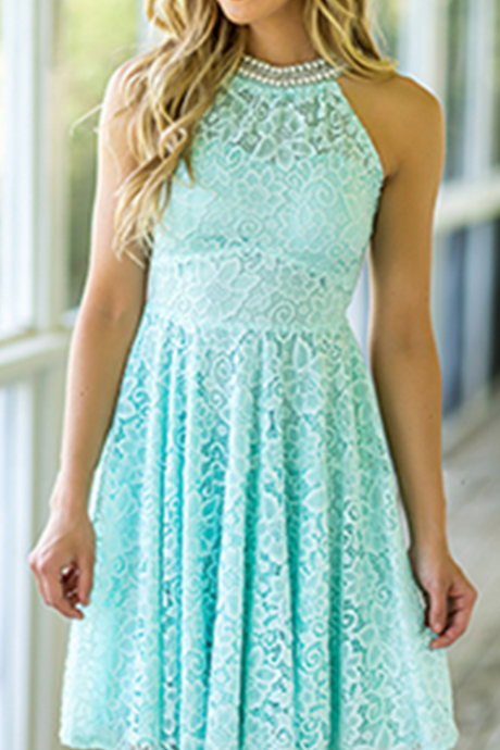 Country Mint Green Lace Bridesmaid Dresses Pearl Beaded Neck Bridesmaid Dress Short