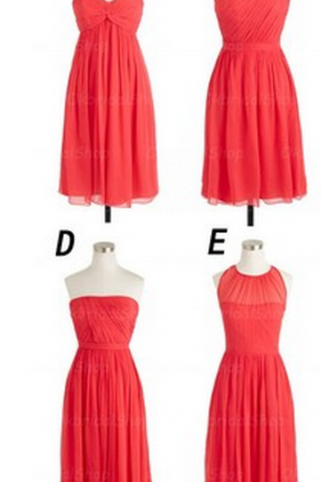 Coral Colored Short Bridesmaid Dresses, Mismatched Bridesmaid Dresses, Junior Bridesmaid Dresses, Cheap Bridesmaid Dresses, Chiffon Bridesmaid Dresses