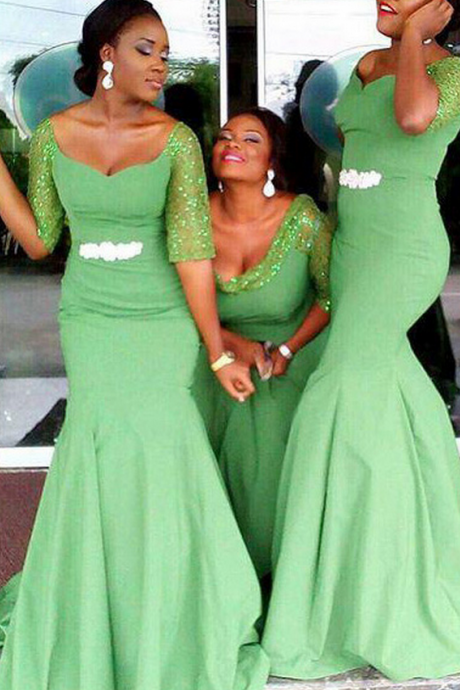 Off the shoulder Bridesmaid Dress with Beaded Belt, Clover Green Mermaid Bridesmaid Dress