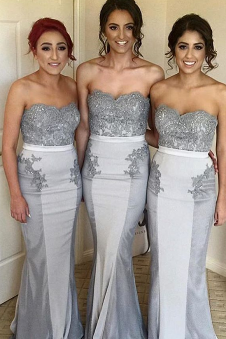 Mermaid Long Gray Satin Strapless Bridesmaid Dresses Sexy Beaded Weddding Party Gowns Appliques for Women