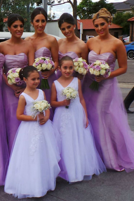 Sweetheart Bridesmaid Dress with Empire Waist, Beautiful Lavender Bridesmaid Dresses