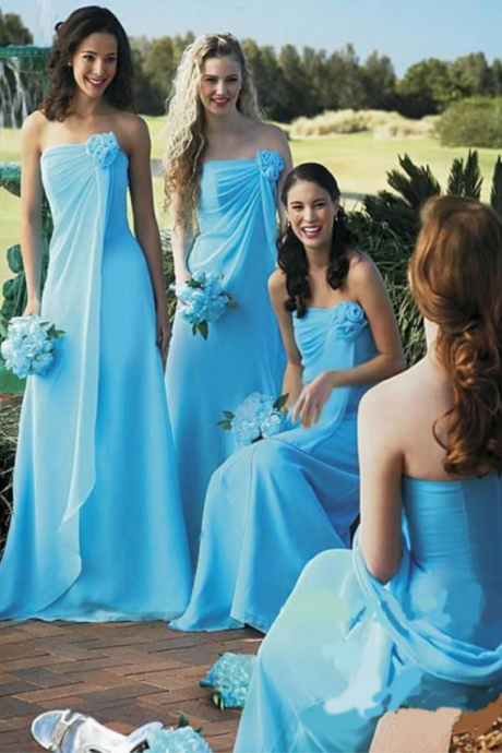 New Sky Blue Vestidos Bridesmaid Dresses Long Chiffon Strapless Prom Dresses Summer Party Dress for Teens