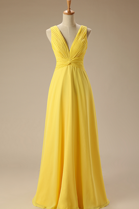 Elegant Bridesmaid Dress Yellow V-neck Chiffon Long Bridesmaid Dresses