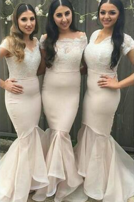 Charming Mermaid Bridesmaid Dresses Lace Appliques Bead