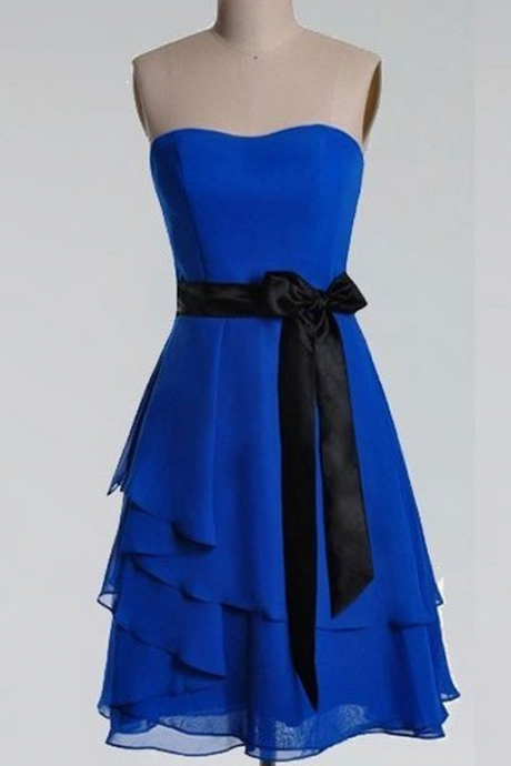 Cheap homecoming dresses ,A-line Bow Embellished Strapless Sleeveless Knee-length Royal Blue Chiffon with Black Sash Short Bridesmaid Dresses