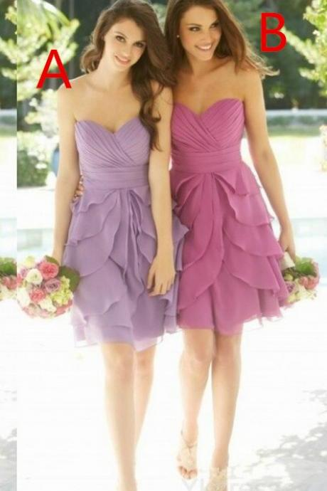 mini bridesmaid dresses,Sexy sweetheart bridesmaid dress,classic design bridesmaid dress,chiffon bridesmaid dress,pink bridesmaid dress