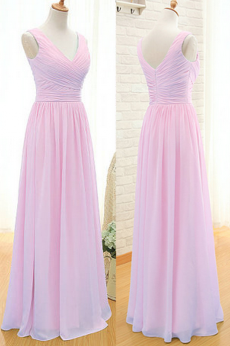 pink bridesmaid dress, floor-length bridesmaid dress, bridesmaid dress, long bridesmaid dress, chiffon bridesmaid dress, v-neck bridesmaid dress, cheap bridesmaid dress