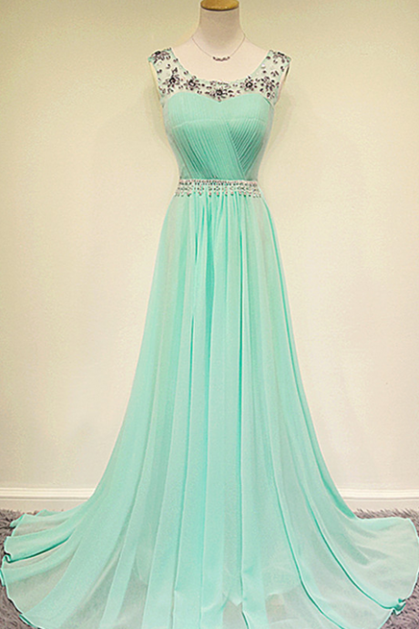 New Design Custom Beaded Long Mint Chiffon Prom Dress, Mint Formal Dress, Evening Dress, Party Press, Wedding Party Dress,