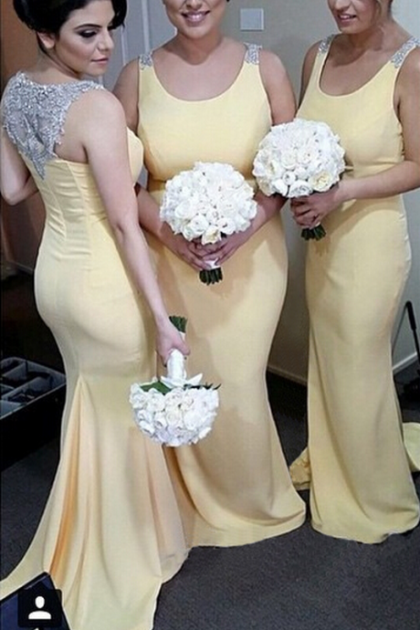 Mermaid Bridesmaid Dresses,Yellow Bridesmaid Dresses,Gorgeous Bridesmaid Dresses,