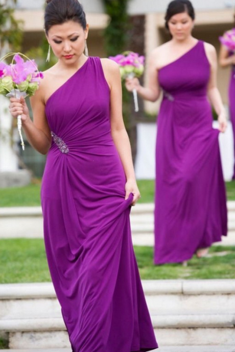 Hot Crystal One Shoulder Purple Bridesmaid Gown Blue/Peach/Ivory/Champagne/Silver/Coral Chiffon Bridesmaid Dresses Fast Shipping