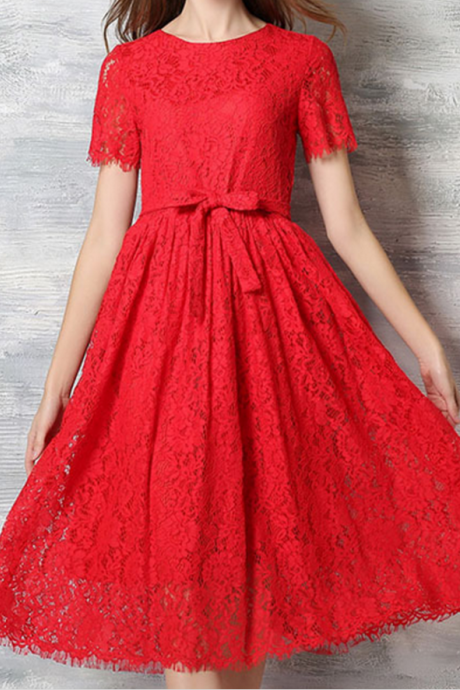 Red lace dress lace dress Bridesmaid dresses