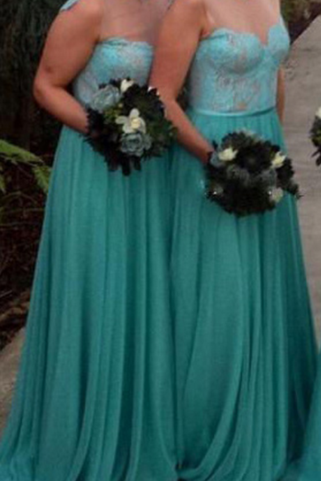 Illusion Bridesmaid Dress with Lace Appliques, Chiffon Bridesmaid Dress with Sweep Train, Modest Mint Bridesmaid Dresses,