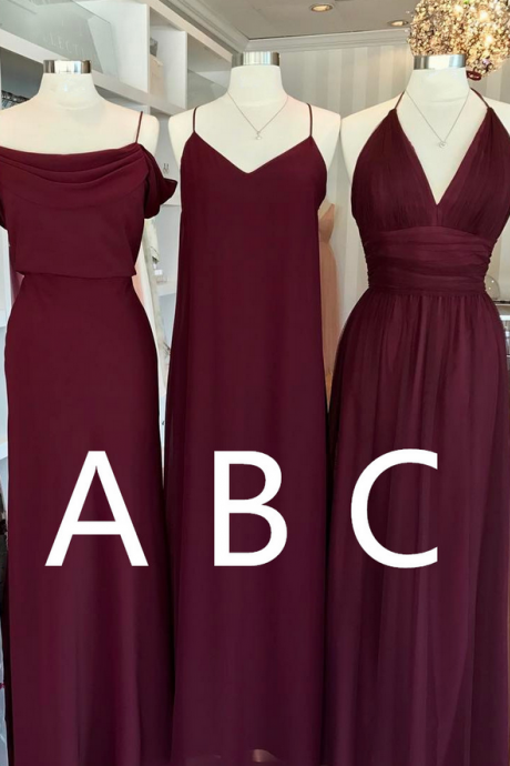burgundy bridesmaid dress,chiffon prom dress,long formal dress,elegant party dress