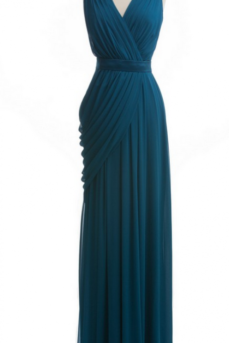 Teal Chiffon Ruched Plunge V Sleeveless Floor Length Sheath Bridesmaid Dress