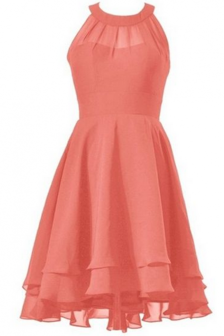 Coral Halter Neck Short Ruffled A-Line Homecoming Dress