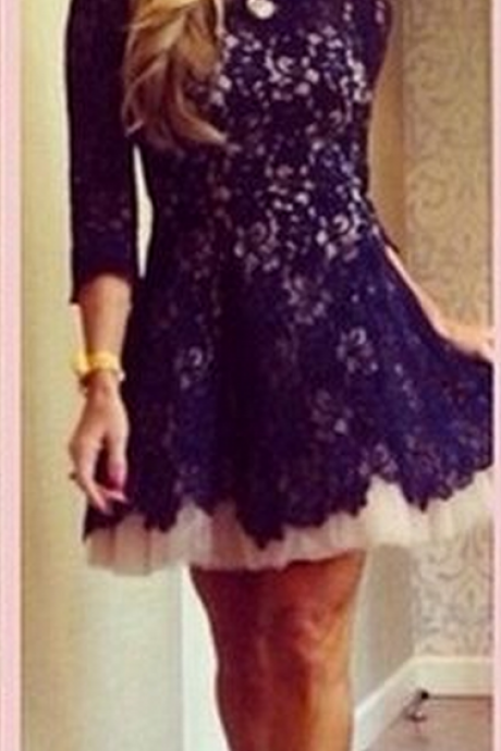 Long Sleeve Lace Homecoming Dresses, Dark Purple Modest Homecoming Dress,