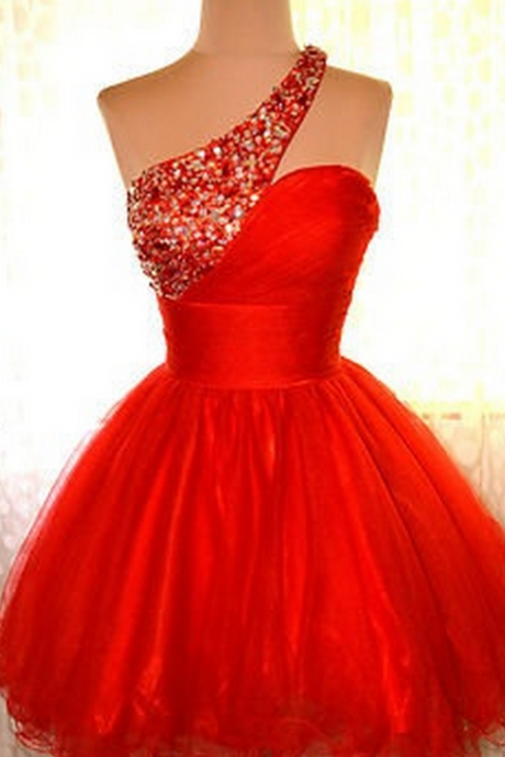 One Shoulder Homecoming Dress,Red Homecoming Dresses,