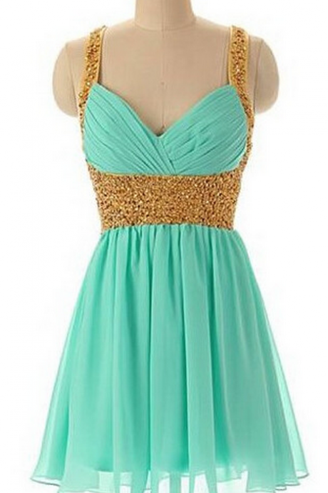 Short Prom Dresses,Green Beading A-line Homecoming Dress,Strap backless Homecoming Dress