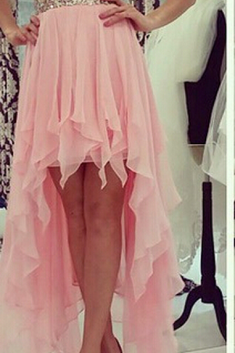 Gorgeous Beaded Homecoming Dress,Strapless High-low ChiffonDress,Pink Homecoming Dresses