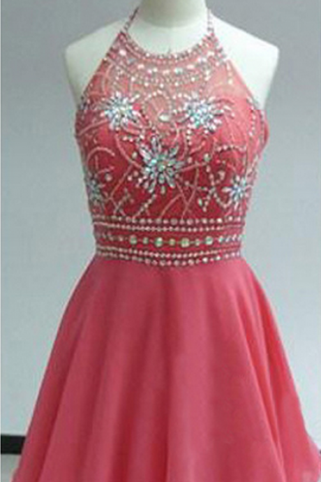 Open Back Short Chiffon Homecoming Dresses, Halter Neck Mini Crystals Women Dresses