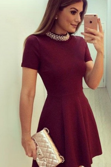 Maroon Short Sleeves Homecoming Dresses Beading Open Back Graduation Dress