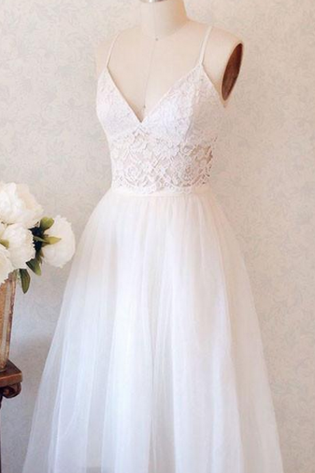 Cheap homecoming dresses ,Elegant A-Line Spaghetti Straps V-Neck White Long Homecoming Dress With Lace