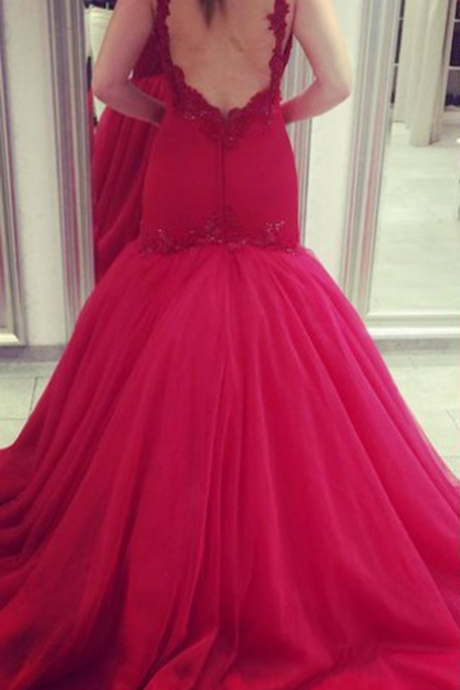 Evening Dresses, Red Evening Dress, Spaghetti Traps Evening Dress