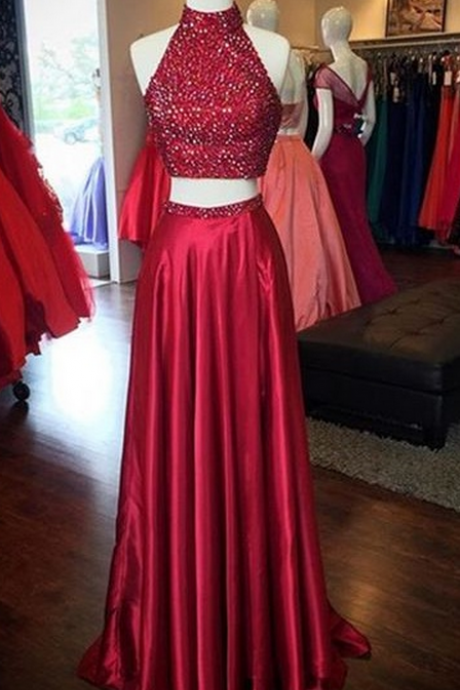 Burgundy Evening Dresses,2 Piece Evening Dresses,2 Piece Prom Dress,Long Evening
