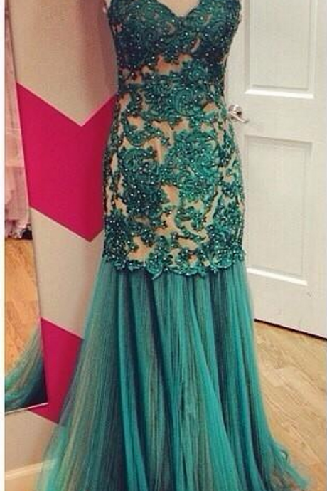 Modest Prom Dresses,Sexy Evening Dresses,Formal Evening Dress,Appliques Evening Dresses,
