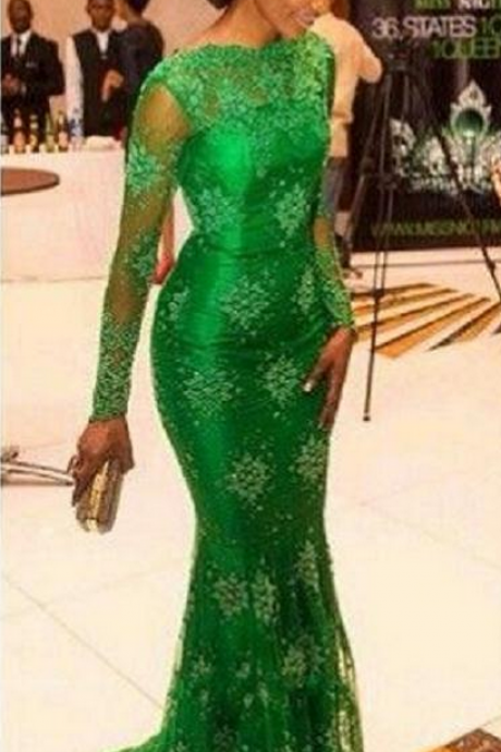 Mermaid Evening Dresses,Lime Green Evening Dresses,Long Sleeves Evening Dresses,Arabic Evening Dress