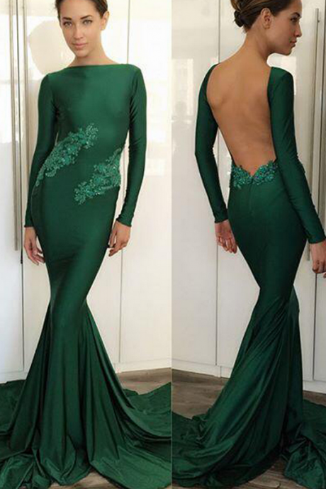 Dark Green Evening Dresses,Evening Dresses with Full Sleeve,Boat Neck Party Gowns,Backless Evening Dresses,