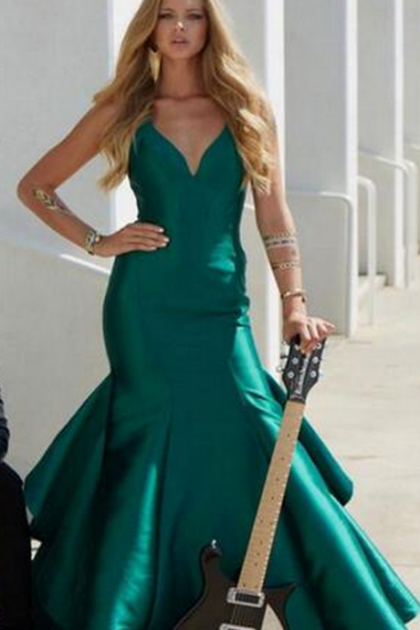 Women Dress Evening Vestidos De Noite Para A Festa New Emerald Green Mermaid Evening Dresses