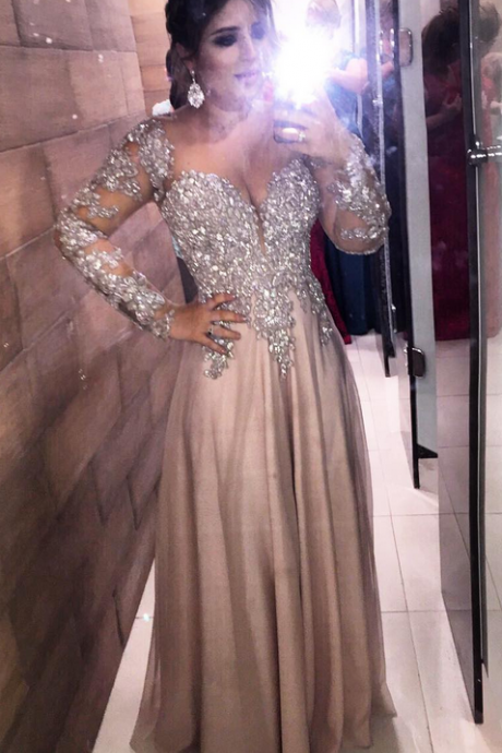 New Arrival Prom Dress,Appliques Prom Dresses,Elegant Long Sleeve Evening Dress,Formal Evening Dresses