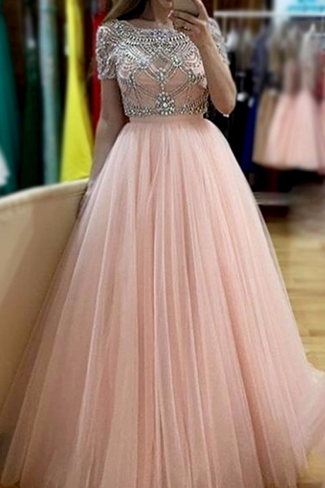 Tulle Beading A Line Evening Dresses Party Dress Prom Dresses